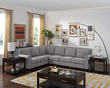 Amazon.com: LILOLA Mason Light Gray Cotton Blended Fabric ...