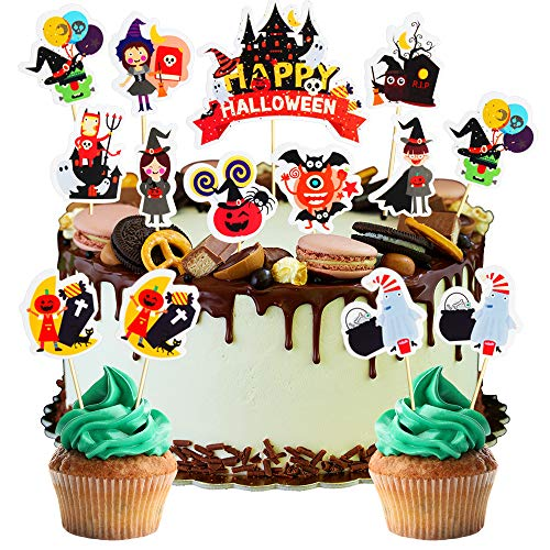 33 Pack Happy Halloween Cupcake Topper Witch Castle Pumpkin Cute Cartoon Halloween Party Decoration Supplies]()