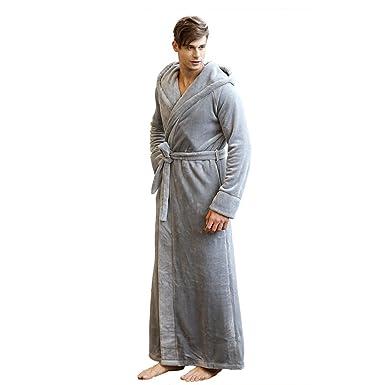 7 VEILS Men and Women Microfleece Flannel Ultra Long Floor-Length Hooded  Bathrobes-Grey 4005cc7ef