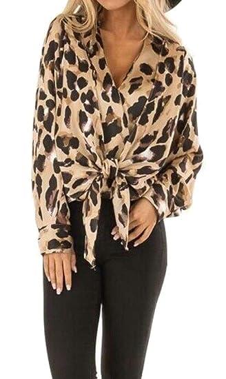 53d83a8c775dfe pipigo Women s V-Neck Leopard Print Lace Up Long Sleeve T-Shirt Blouse Top  at Amazon Women s Clothing store