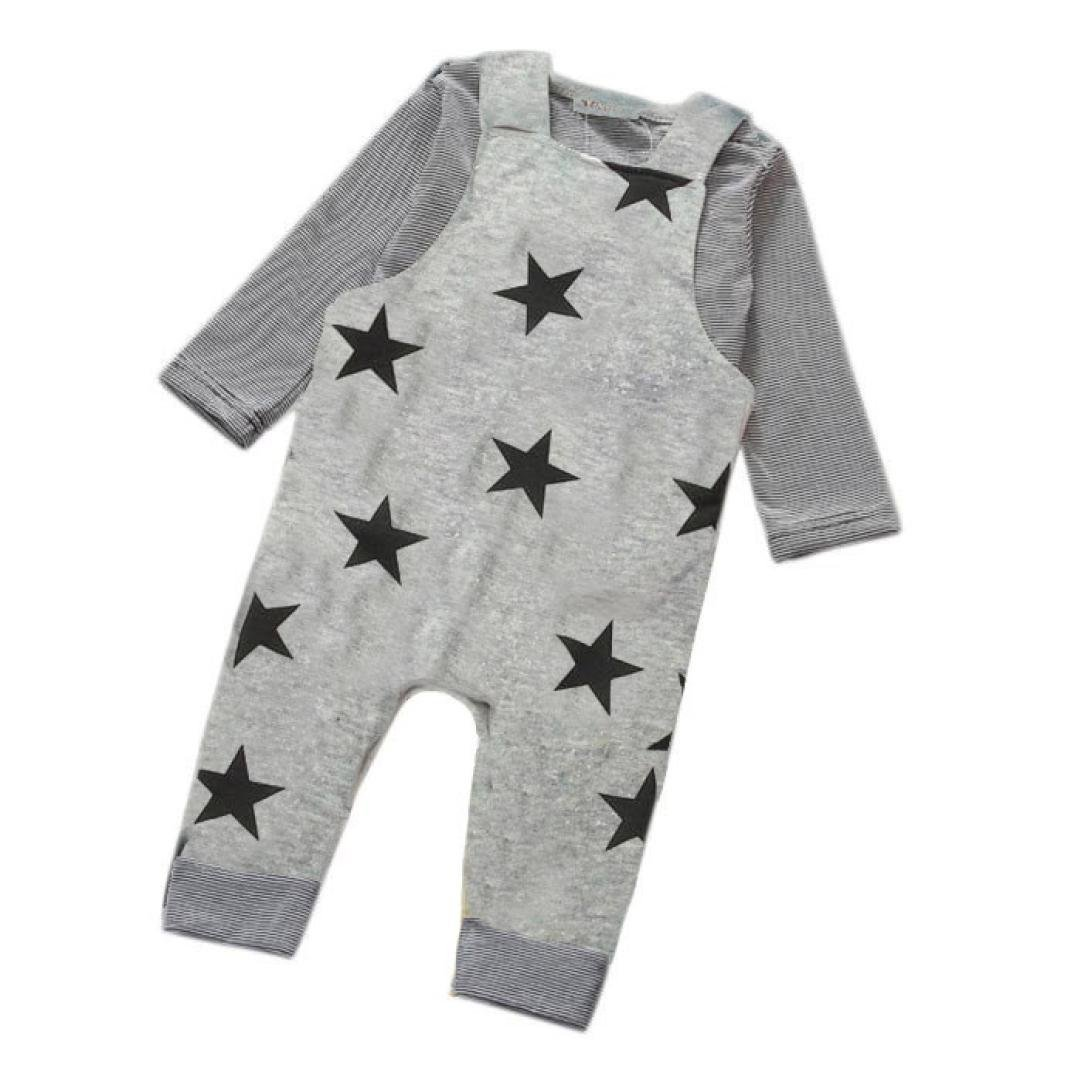 Newborn Baby Clothes Set Baby Boy Pants Sets Stripe T-shirt Top Bib Pants Overall Outfits (Gray, 0-6 month)