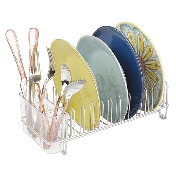 mDesign Escurridor de platos de acero inoxidable – Escurreplatos de plástico con cubertero – Elegante escurrecubiertos para vajilla – Hasta 15 platos ...