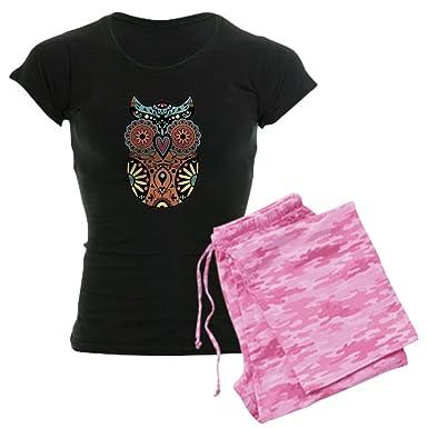 129cb91260 Amazon.com  CafePress-Sugar Skull Owl Color Women s Dark Pajamas ...