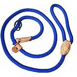 Adjustable Nylon Dog Pet Rope Products Slip Pet Dog Whisperer Cesar Slip Training Leash Lead Collar, 4-Feet (blue)