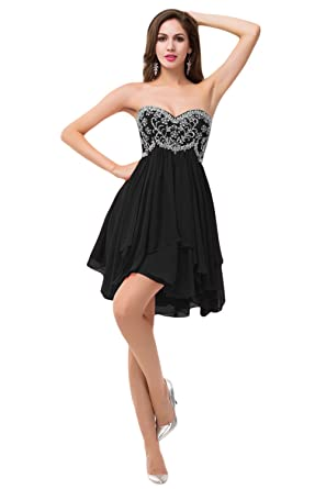 Sunvary Gorgeous Bead Juniors Chiffon Homecoming Cocktail Dresses 2015 Mini US Size 2- Black