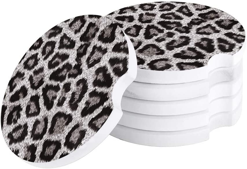 Car Drinks Coasters Set of 4 Pack Leopard Print Absorbent Ceramic Stone Black Grey White Coaster with A Finger Notch for Easy Removal from Auto Cupholder