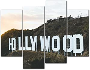 Hollywood Placard Wall Art 4 Pieces Paintings Prints on Canvas Modern Artwork The Pictures for The Living Room Home Decor