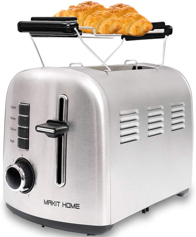 Toaster 2 Slice,Extra Wide Slot Toaster,Stainless Steel Retro Toaster with Bagel,Cancel,Defrost,Reheat Function,Bread Toaster,Bagels Toaster with 7 Shade Settings,Removable Crumb Tray
