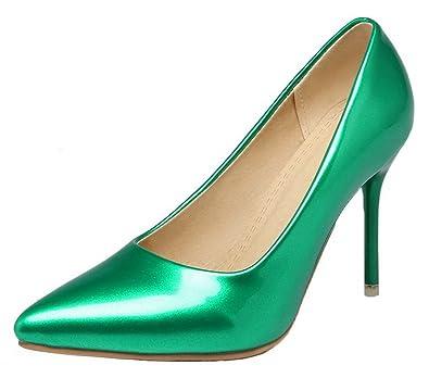 AgooLar Damen Ziehen auf Spitz Schließen Zehe Stiletto PU Rein Pumps Schuhe, Weiß, 33
