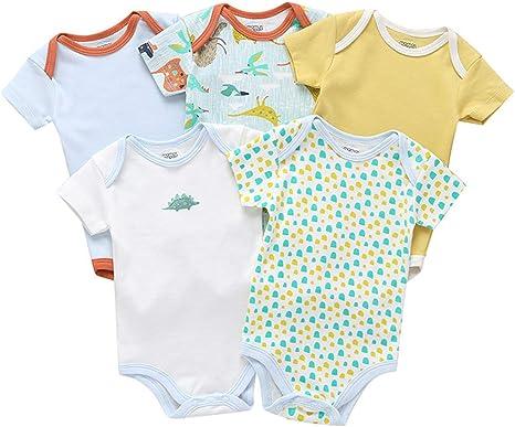 Pack de 5 Bebé Niños Body Mono de Manga Corta Mameluco ...