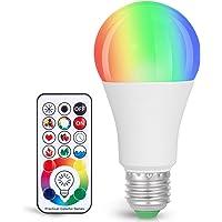 Sunnest 120 Colors LED Light Bulb, Dimmable E26 LED Light Bulb, 10W RGBW Color Changing Light Bulb with Remote Control…
