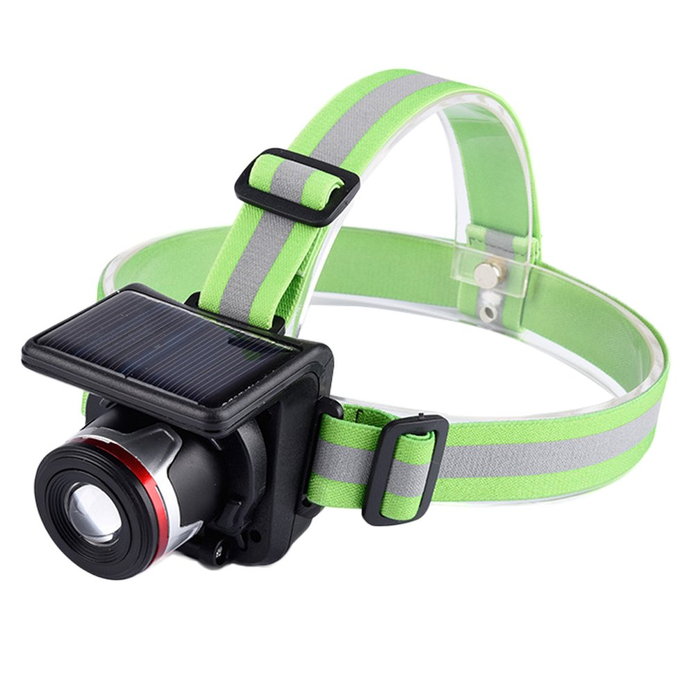 Focus Adjustable LED Headlamp with Solar Panel and Wall Charger Built-in Rechargeable Li-ion Battery IPX5 Waterproof Headlight