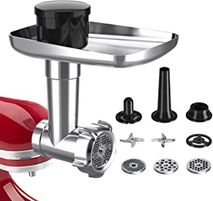Food Grinder Attachment for KitchenAid Stand Mixer Included Sausage Stuffer Tubes, Durable Meat Grinder Accessories