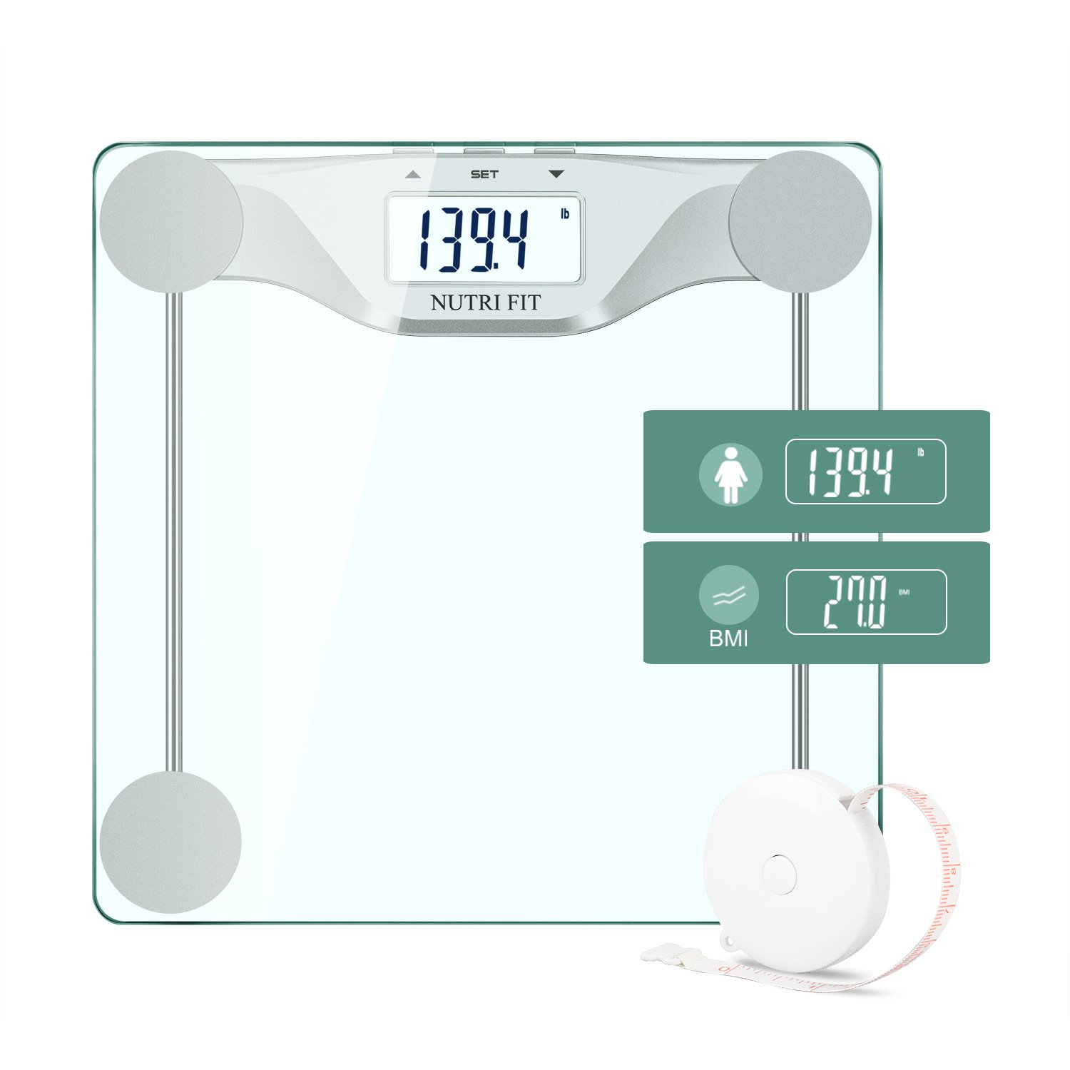Digital Body Weight Bathroom Scale BMI, Accurate Weight Measurements Scale,Large Backlight Display and Step-On Technology,400 Pounds,Body Tape Measure Included NUTRI FIT EB9083H-NF-SS
