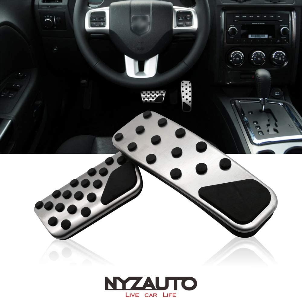 NYZAUTO Non-Slip Foot Pedal Pads for 2018-up Jeep Wrangler JL //2019-up Gladiator,Automatic Transmission No Drilling Aluminum Brake and Accelerator Pedal Covers