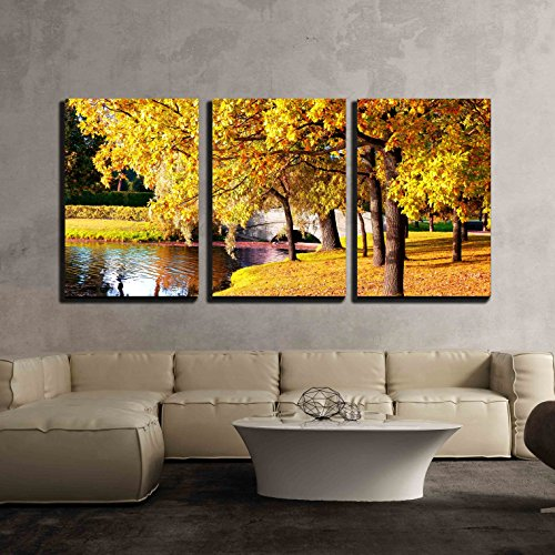 wall26 - 3 Piece Canvas Wall Art - Beautiful Autumn Forest in Park ' Pushkin, Saint Petersburg, Russia - Modern Home Decor Stretched and Framed Ready to Hang - 16