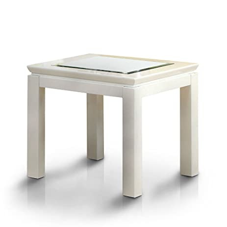 Etonnant Furniture Of America Clarize Contemporary Glossy End Table White Glossy,  White Finish