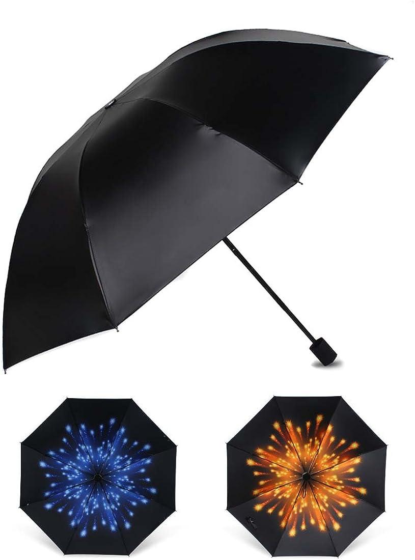 Penfly Outdoor Portable Sun Rain Travel Umbrella for Women Anti-UV Firework Pattern Parasol Light-Weight Windproof Foldable