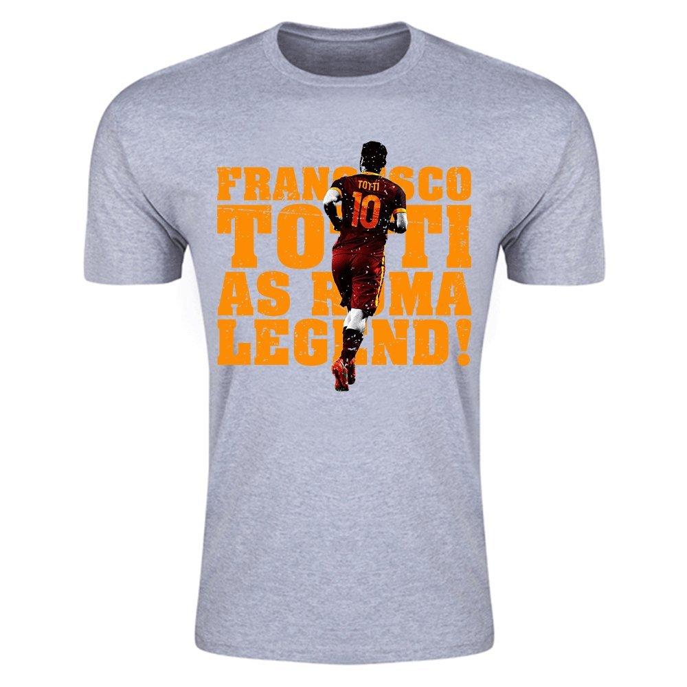 Francesco Totti Roma Legend T-Shirt (Grey) B01MQPAWILGrey Large (42-44\