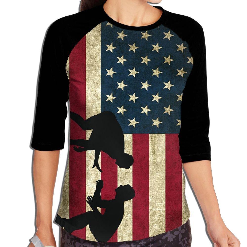 Lwnek American Flag Wrestling Womens Or Youth Plain Raglan Shirt 3/4 Sleeve Athletic Baseball M