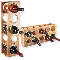 Portabottiglie CUBE - impilabile in legno di bambù per 5 bottiglie di vino da mettere, posare, a parete, espandibile, dimensioni 13,5x12x53 cm (LxPxA) Portabottiglie portabottiglie portabottiglie