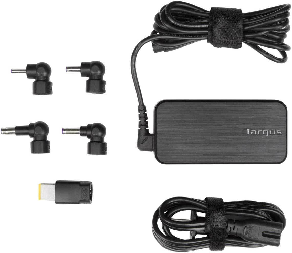 Targus 65W AC Ultra-Slim Universal Laptop Charger with 6-Foot Cable, Includes 6 Power Tips Compatible with Major Brands: Acer, ASUS, HP, Compaq, Lenovo, Samsung (APA52US)
