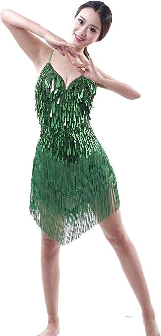 Astage Mujer Danza Latina Salsa Sexy Falda Corta Vara de Flecos ...