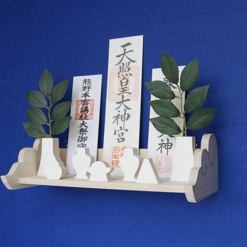 合格祈願 受験祈願神社 お守り置き 神具もそろっているはじめての神棚セットNegai(ねがい)-GOK-KUMO-L300 B06Y5RXJQ7