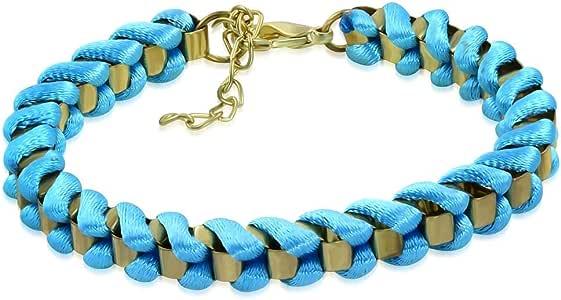Gold Color Plated Blue Crochet Link Bracelet