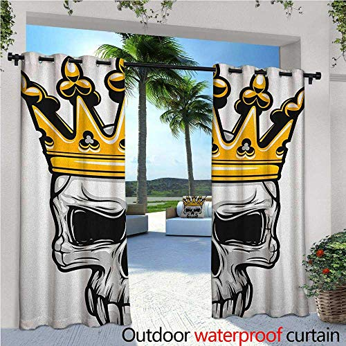 familytaste King Indoor/Outdoor Single Panel Print Window Curtain Hand Drawn Crowned Skull Cranium with Coronet Tiara Halloween Themed Image Silver Grommet Top Drape W84 x L84 Golden and Pale -