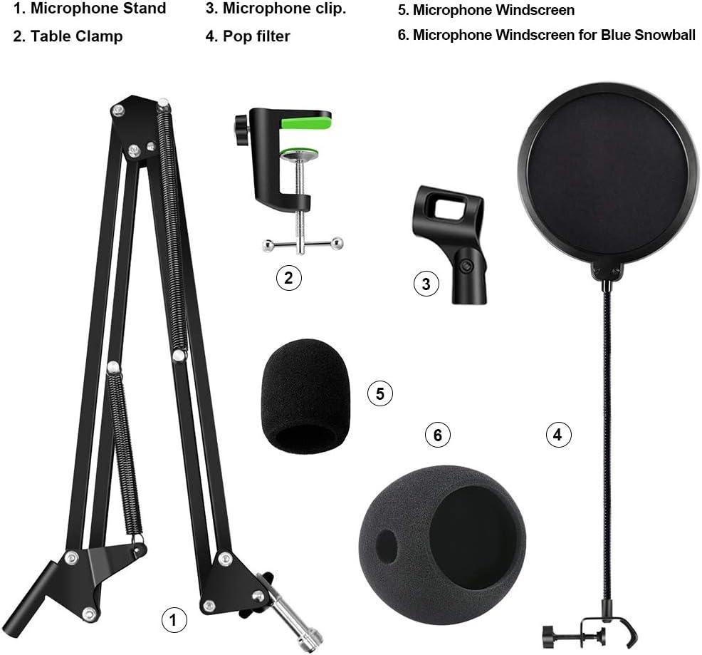 bras en ciseaux support de micro pour enregistrement en studio SET 1 chant Support de microphone r/églable avec filtre anti-pop pour suspension de microphone diffusion en streaming