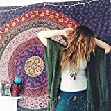 Purple Tapestry Hippie Hippy Mandala Tapestry Bohemian Tapestries Bedspread Indian Dorm Decor Psychedelic Tapestry Wall Hanging Ethnic Decorative Tapestry Beach Blanket by Jaipur Handloom