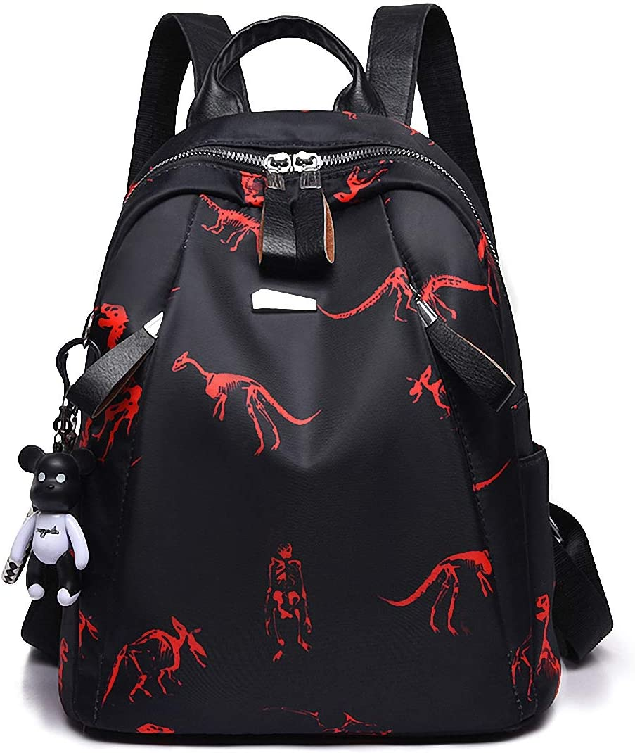 GuaziV Backpack Purse for Women Nylon Anti-theft Waterproof Fashion Bag Lightweight School Shoulder Bags (Color dinosaur)