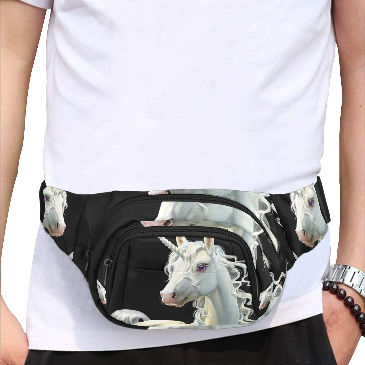 Unicorn With Wreath Of Flowers Fenny Packs Waist Bags Adjustable Belt Waterproof Nylon Travel Running Sport Vacation Party For Men Women Boys Girls Kids