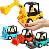 Construction Toys 4 Pack Set with Excavator, Bulldozer, Road Roller, Lift Truck Toys, Friction Powered Push and Go Toy…