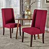 Cline Deep Red Fabric Dining Chair (Set of 2)
