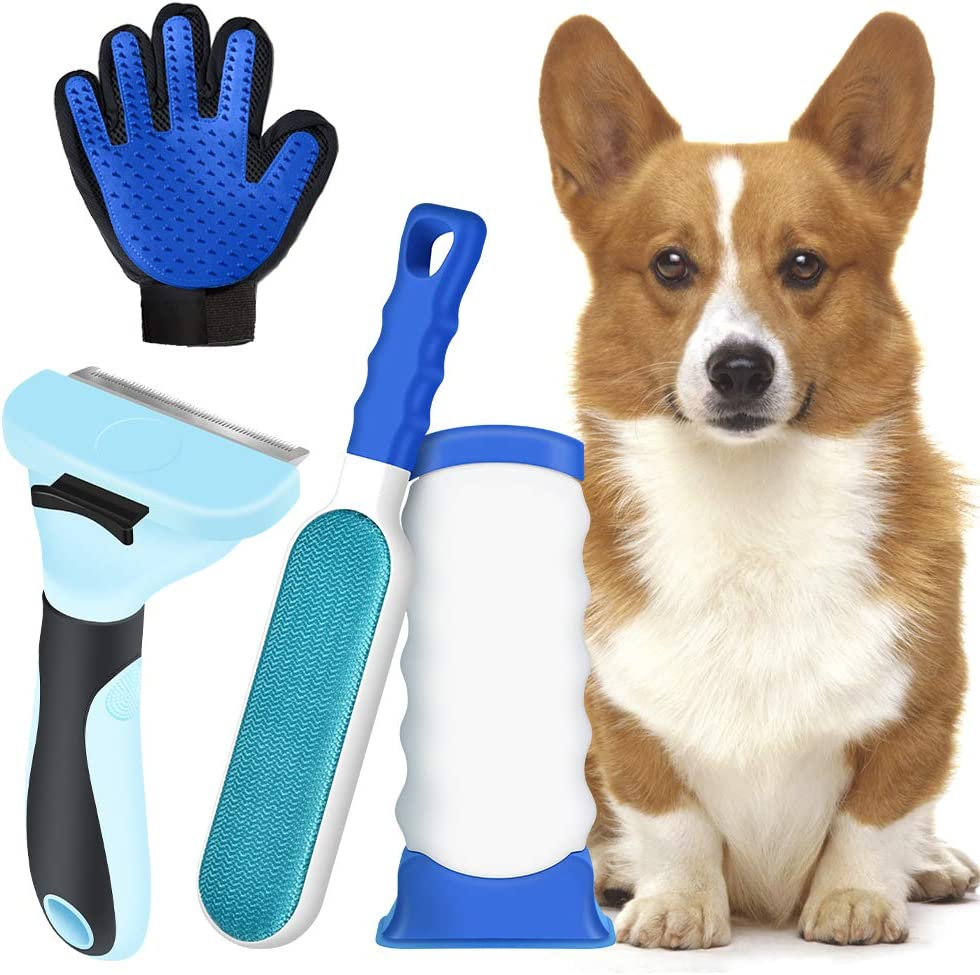 Upgraded Reusable Pet Hair Remover Brush Set with Hair Remover Brush and Glove Rake Comb Hair Removal Tool Efficient for Dog & Cat, Furniture Carpet Clothes Hair Remove - Perfect for Long & Short Fur