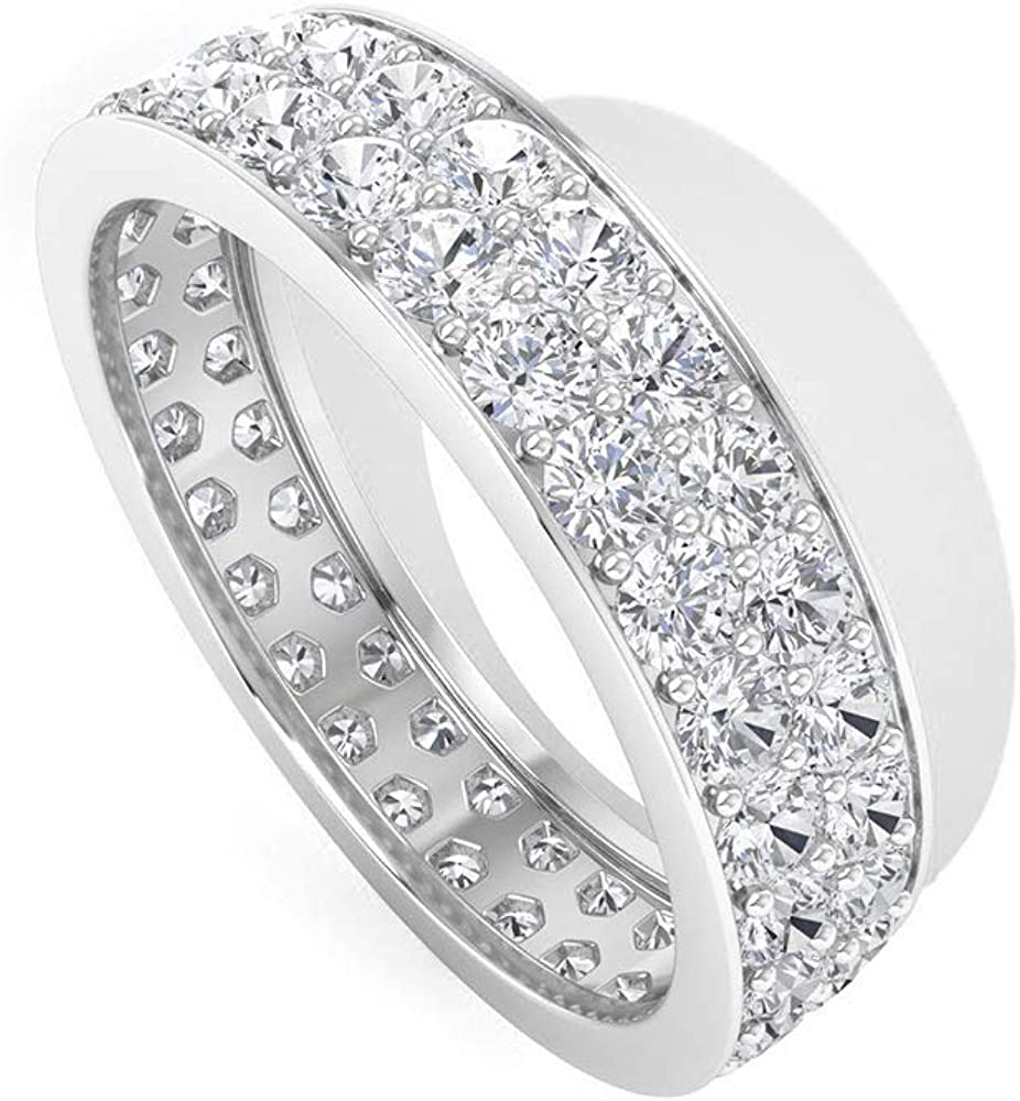Anillo con certificado IDCL de 1,8 quilates de Moissanite Cluster, anillo de eternidad de oro antiguo, DEF-VS1, claridad de color Moissanite, anillo de compromiso para mujeres, anillo de aniversario