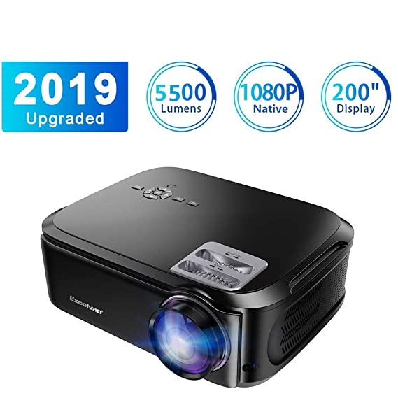 Excelvan Proyector 5500 lúmenes 1080P Nativo USB/VGA/SD/HDMI ...