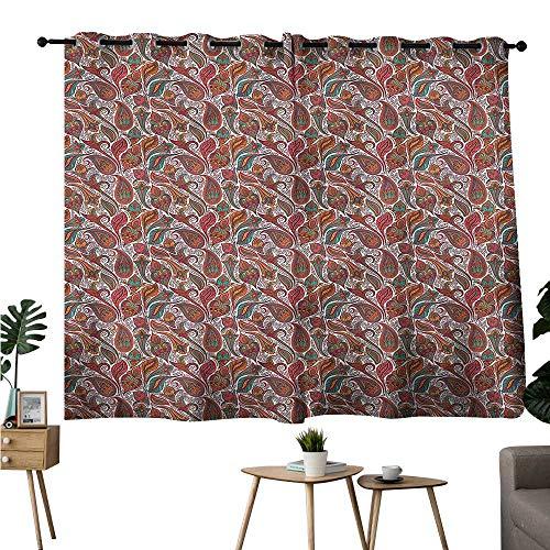 (Alexandear Darkening Darkening Curtains Grommets Curtain for Kitchen Window Jacobean,Persian Paisley Swirls Curtains/Panels/Drapes W63 x L72)