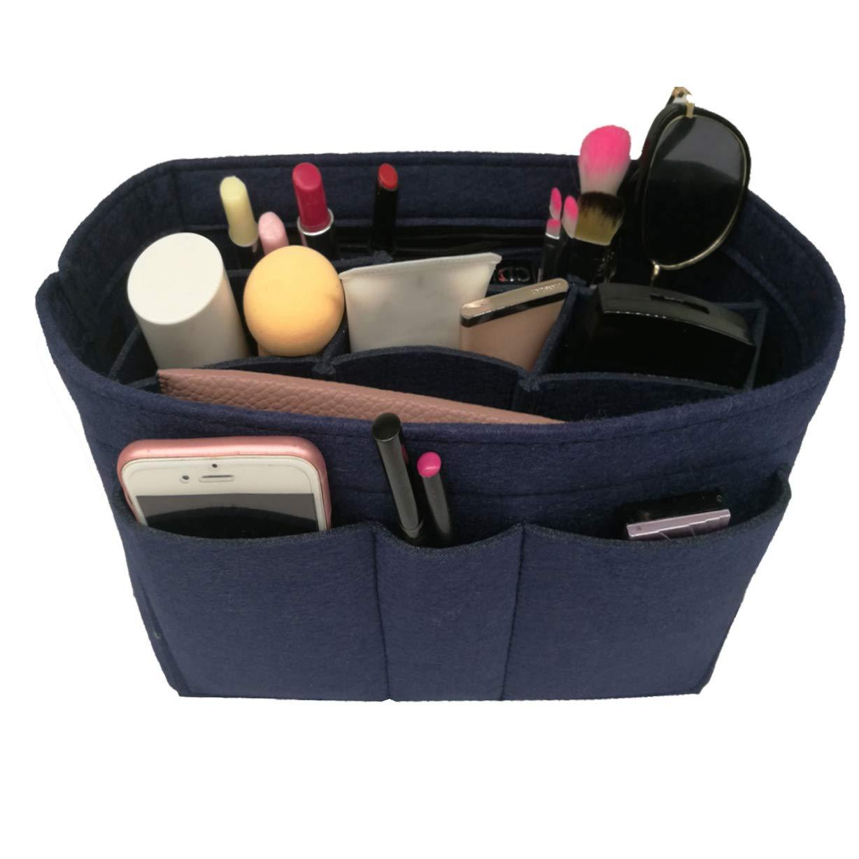 bluee Felt Insert Fabric Purse Organizer Bag, Bag Insert in Bag with Zipper Inner Pocket Black M
