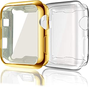 Case Compatible with Apple Watch Series 3 38mm, 2 Pack Soft TPU All-Around Clear Screen Protector Case Ultra-Thin Cover Compatible for Apple iWatch Series 3 Series 2 (Gold+Clear)