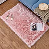 HEQUN Faux Fur Rug Soft Fluffy Rug, Shaggy Rugs Faux Sheepskin Rugs Floor Carpet for Bedrooms Living Room Kids Rooms Decor (Pink, 60 X 90 cm)