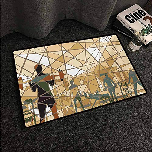HCCJLCKS Interesting Doormat Fitness Mosaic Design of People Exercising in a Gym Barbells Weightlift Easy to Clean Carpet W31 xL47 Slate Blue Pale Brown Black
