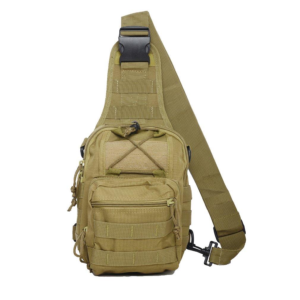 Kenny Walker Tactical Sling Bag Cross Body Chest Rucksack Military Shoulder Pack EDC Molle Fly Fishing Packs for IPad Mini Nylon Outdoor Camping Hiking Trekking Travel Daypack (Khaki)