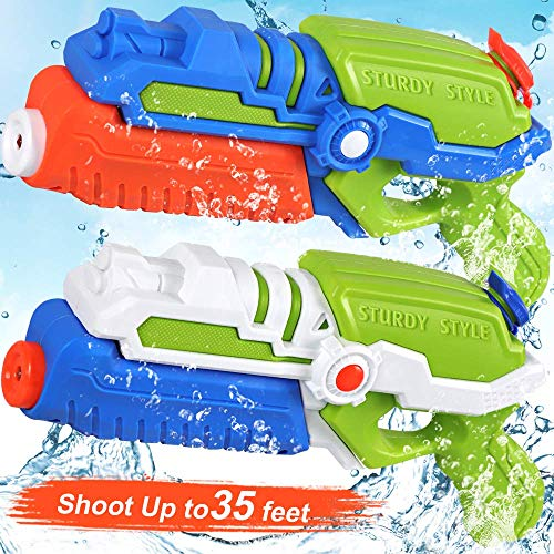 POKONBOY 2 Pack Super Water Guns Water Blaster Super Soaker Squirt Guns, Shoots Up to 35 Ft Water Pool Games Toy for Kids Adults Swimming Pools Party Outdoor Beach Water Fighting Toys]()