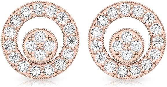 0.30 Carat Tiny Open Circle SGL Certified Diamond Earring, Minimal HI-SI Diamond Cluster Halo Earrings, Women Birthday Anniversary Stud Earrings Gifts, Screw Back