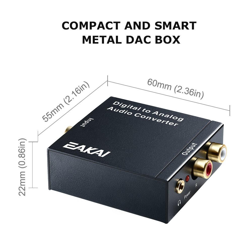 EAKAI Digital Optical Coax to Analog RCA Audio Converter with 3.5 mm Jack 24-bit DAC with DC 5V Power Supply Adapter USA UL Licensed