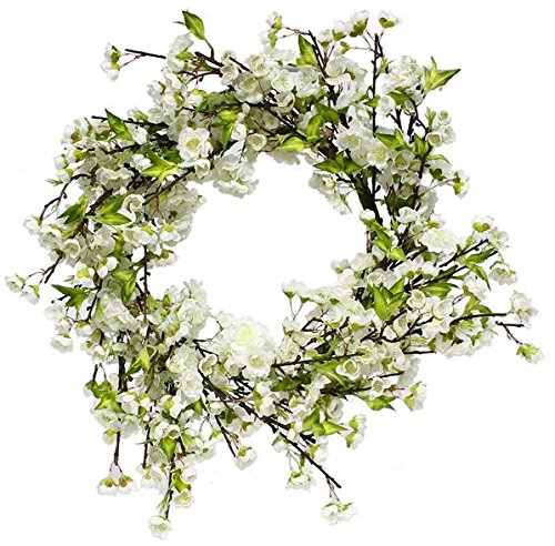 White Artificial Wreath - 24'' cherry blossom wreath artificial (white)