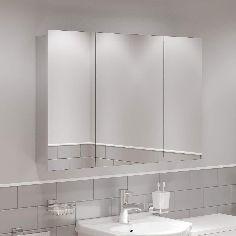Artis Triple Mirror Door Bathroom Cabinet Cupboard Wall Mounted Stainless Steel 900mm Home Kitchen Bathroom Furniture